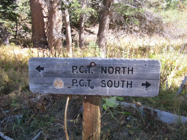 PCT marker at the Agnew Meadows Trailhead